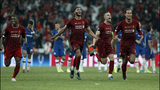 Liverpool teammates celebrate after winning the UEFA Super Cup soccer match between Liverpool and Chelsea, in Besiktas Park, in Istanbul, Wednesday, Aug. 14, 2019.(AP Photo/Lefteris Pitarakis)