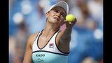 Ashleigh Barty, of Australia, serves to Maria Sakkari, of Greece, during the Western & Southern Open tennis tournament, Friday, Aug. 16, 2019, in Mason, Ohio. (AP Photo/John Minchillo)