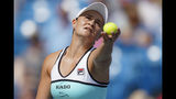 Ashleigh Barty, of Australia, serves to Maria Sakkari, of Greece, during the Western & Southern Open tennis tournament, Friday, Aug. 16, 2019, in Mason, Ohio. (AP Photo/John Minchillo)