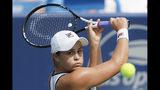 Ashleigh Barty, of Australia, returns to Maria Sakkari, of Greece, during the Western & Southern Open tennis tournament, Friday, Aug. 16, 2019, in Mason, Ohio. (AP Photo/John Minchillo)