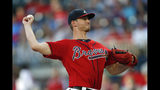 Atlanta Braves starting pitcher Mike Soroka works against the Los Angeles Dodgers in the first inning of a baseball game Friday, Aug. 16, 2019, in Atlanta. (AP Photo/John Bazemore)