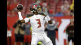 Tampa Bay Buccaneers quarterback Jameis Winston (3) throws a pass during the first half of an NFL preseason football game against the Miami Dolphins Friday, Aug. 16, 2019, in Tampa, Fla. (AP Photo/Chris O'Meara)