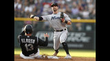Miami Marlins third baseman Jon Berti, back, throws to first base after forcing out Colorado Rockies' Yonder Alonso at second base on a ground ball hit by Raimel Tapia, who was safe at first during the second inning of a baseball game Friday, Aug. 16, 2019, in Denver. (AP Photo/David Zalubowski)