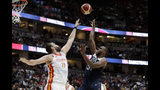 United States' Khris Middleton, right, shoots over Spain's Marc Gasol during the second half of an exhibition basketball game Friday, Aug. 16, 2019, in Anaheim, Calif. (AP Photo/Marcio Jose Sanchez)