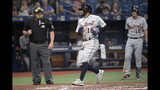 Detroit Tigers' Dawel Lugo (18) scores from third base on a passed ball during the fourth inning of a baseball game against the Tampa Bay Rays, Friday, Aug. 16, 2019, in St. Petersburg, Fla. (AP Photo/Phelan M. Ebenhack)