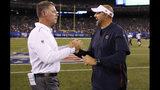 New York Giants head coach Pat Shurmur, left, greets Chicago Bears head coach Matt Nagy after a preseason NFL football game, Friday, Aug. 16, 2019, in East Rutherford, N.J. The Giants won 32-13. (AP Photo/Adam Hunger)
