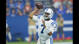 Indianapolis Colts quarterback Jacoby Brissett (7) throws against the Cleveland Browns during the first half of an NFL preseason football game in Indianapolis, Saturday, Aug. 17, 2019. (AP Photo/AJ Mast)