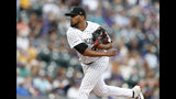 Colorado Rockies starting pitcher German Marquez works against the Miami Marlins during the first inning of a baseball game Saturday, Aug. 17, 2019, in Denver. (AP Photo/David Zalubowski)
