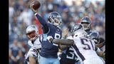 Tennessee Titans quarterback Marcus Mariota (8) passes as he is pressured by New England Patriots linebacker Ja'Whaun Bentley (51) in the first half of a preseason NFL football game Saturday, Aug. 17, 2019, in Nashville, Tenn. (AP Photo/James Kenney)