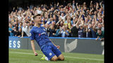 Chelsea's Mason Mount celebrates after scoring the opening goal during the English Premier League soccer match between Chelsea and Leicester City at Stamford Bridge stadium in London, Sunday, Aug. 18, 2019. (AP Photo/Frank Augstein)