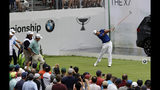 Hideki Matsuyama, of Japan, hits his tee shot on the first hole during the final round of the BMW Championship golf tournament at Medinah Country Club, Sunday, Aug. 18, 2019, in Medinah, Ill. (AP Photo/Nam Y. Huh)