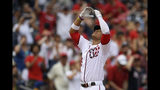 Washington Nationals' Juan Soto celebrates his home run during the third inning of a baseball game against the Milwaukee Brewers, Sunday, Aug. 18, 2019, in Washington. (AP Photo/Nick Wass)