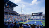 Svetlana Kuznetsova, of Russia, serves to Madison Keys, of the United States, in the women's final match during the Western & Southern Open tennis tournament, Sunday, Aug. 18, 2019, in Mason, Ohio. (AP Photo/John Minchillo)