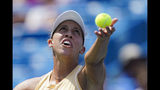 Madison Keys, of the United States, serves to Svetlana Kuznetsova, of Russia, in the women's final match during the Western & Southern Open tennis tournament Sunday, Aug. 18, 2019, in Mason, Ohio. (AP Photo/John Minchillo)