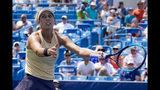 Madison Keys reacts against Svetlana Kuznetsova, of Russia, in the women's final match during the Western & Southern Open tennis tournament, Sunday, Aug. 18, 2019, in Mason, Ohio. (AP Photo/John Minchillo)