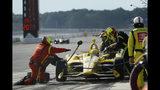 Simon Pagenaud pits during an IndyCar Series auto race at Pocono Raceway, Sunday, Aug. 18, 2019, in Long Pond, Pa. (AP Photo/Matt Slocum)