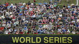 Fans sit on the hillside overlooking left field of Lamade Stadium to watch a baseball game between Barrington, R.I., and Bowling Green, Ky., at the Little League World Series in South Williamsport, Pa., Saturday, Aug. 17, 2019. Rhode Island won 6-1. (AP Photo/Gene J. Puskar)