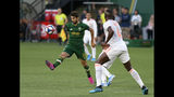 Portland Timbers' Diego Valeri, left, brings the ball down past Atlanta United's Florentin Pogba (4) during an MLS soccer match in Portland, Ore. on Sunday, Aug. 18, 2019. (Sean Meagher/The Oregonian via AP)