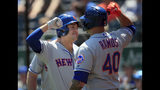 New York Mets' Michael Conforto, left, celebrates this three-run home run with teammate Wilson Ramos (40) during the first inning of a baseball game against the Kansas City Royals at Kauffman Stadium in Kansas City, Mo., Sunday, Aug. 18, 2019. (AP Photo/Orlin Wagner)
