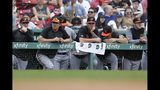 Baltimore Orioles' Aaron Brooks (38) and teammates watch from the dugout during the ninth inning of a baseball game against the Boston Red Sox in Boston, Sunday, Aug. 18, 2019. (AP Photo/Michael Dwyer)