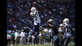 Los Angeles Chargers defensive back Jaylen Watkins (27) intercepts a pass during the first half of a preseason NFL football game against the New Orleans Saints, Sunday, Aug. 18, 2019, in Carson, Calif. (AP Photo/Kelvin Kuo)