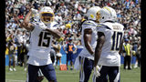 Los Angeles Chargers wide receiver Andre Patton (15) celebrates after a touchdown reception against the New Orleans Saints during the first half of a preseason NFL football game Sunday, Aug. 18, 2019, in Carson, Calif. (AP Photo/Gregory Bull )