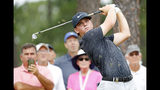 John Augenstein hits off the tee on the eighth hole during the final round against Andy Ogletree at the USGA Amateur Golf Championship at the Pinehurst Country Club , in Pinehurst, N.C, Sunday, Aug. 18, 2019, (AP Photo/Karl B DeBlaker)