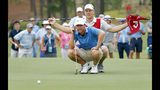 Andy Ogletree eyes his putt during the final round against John Augenstein at the USGA Amateur Golf Championship at the Pinehurst Country Club , in Pinehurst, N.C, Sunday, Aug. 18, 2019, (AP Photo/Karl B DeBlaker)