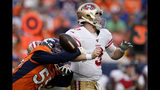 Denver Broncos outside linebacker Bradley Chubb (55) forces San Francisco 49ers quarterback C.J. Beathard (3) to fumble during an NFL preseason football game, Monday, Aug. 19, 2019, in Denver. The 49ers recovered the ball. (AP Photo/Jack Dempsey)