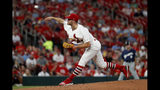 St. Louis Cardinals starting pitcher Dakota Hudson throws during the fifth inning of a baseball game against the Milwaukee Brewers, Monday, Aug. 19, 2019, in St. Louis. (AP Photo/Jeff Roberson)