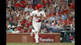 St. Louis Cardinals' Paul DeJong tosses aside his bat as he watches his solo home run during the sixth inning of a baseball game against the Milwaukee Brewers Monday, Aug. 19, 2019, in St. Louis. (AP Photo/Jeff Roberson)