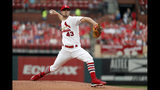 St. Louis Cardinals starting pitcher Dakota Hudson throws during the first inning of a baseball game against the Milwaukee Brewers, Monday, Aug. 19, 2019, in St. Louis. (AP Photo/Jeff Roberson)