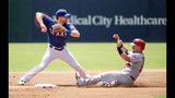 Texas Rangers shortstop Logan Forsythe, left, puts out Los Angeles Angels' Kole Calhoun on a fielder's choice during the first inning of the first baseball game of a doubleheader Tuesday, Aug. 20, 2019, in Arlington, Texas. (AP Photo/Jeffrey McWhorter)