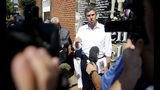 Democratic presidential candidate Beto O'Rourke speaks with the media after touring the Greenwood District in Tulsa, Okla., Monday, Aug. 19, 2019. (Mike Simons/Tulsa World via AP)