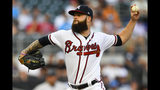 Atlanta Braves' Dallas Keuchel pitches against the Miami Marlins during the first inning of a baseball game Tuesday, Aug. 20, 2019, in Atlanta. (AP Photo/John Amis)