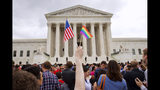 FILE - In this June 26, 2015, file photo, a crowd celebrates outside of the Supreme Court in Washington after the court declared that same-sex couples have a right to marry anywhere in the U.S. On Friday, Aug. 16, 2019, the Justice Department brief filed telling the Supreme Court that federal law allows firing workers for being transgender. The brief is related to a group of three cases that the high court will hear in its upcoming term related to LGBTQ discrimination in the workplace. (AP Photo/Jacquelyn Martin, File)