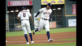 Houston Astros' George Springer (4) is congratulated by third base coach Gary Pettis (8) after hitting a home run against the Detroit Tigers during the first inning of a baseball game Tuesday, Aug. 20, 2019, in Houston. (AP Photo/David J. Phillip)