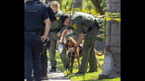 Police use a bloodhound while searching for a suspect that stabbed to death a retired Cal State Fullerton administrator on Monday, August 19, 2019 in Fullerton, Calif. The stabbing happened in Parking Lot S at College Place and Langsdorf Drive in Fullerton. (Paul Bersebach/The Orange County Register via AP)
