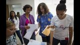 """In this photo taken July 25, 2019, Dr. Saturnina Clemente, center, gives instructions to assistants at a small clinic in the Caucaguita neighborhood on the outskirts of Caracas, Venezuela. Clemente is armed with one of Venezuela's most sought-after commodities: Hormonal implants to prevent pregnancy. """"It's a sense of impotency, of frustration,"""" she says. """"You see that it's not enough, that the demand is much higher."""" (AP Photo/Ariana Cubillos)"""