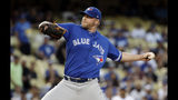 Toronto Blue Jays starting pitcher Buddy Boshers throws to a Los Angeles Dodgers batter during the first inning of a baseball game Tuesday, Aug. 20, 2019, in Los Angeles. (AP Photo/Marcio Jose Sanchez)