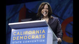 FILE - In this June 1, 2019, file photo, Democratic presidential candidate Sen. Kamala Harris, D-Calif., speaks during the 2019 California Democratic Party State Organizing Convention in San Francisco. Bernie Sanders is promising to win the California presidential primary next year, but home-state Harris is preparing to defend her turf. (AP Photo/Jeff Chiu, File)