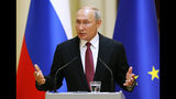 Russian President Vladimir Putin speaks during a news conference after his meeting with President of the Republic of Finland Sauli Niinisto at the President's official residence Mantyniemi in Helsinki, Finland, Wednesday, Aug. 21, 2019. (AP Photo/Alexander Zemlianichenko, Pool)