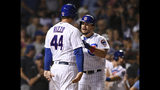 Chicago Cubs' Kyle Schwarber, right, celebrates with Anthony Rizzo (44) at home plate after hitting a two-run home run during the third inning of the team's baseball game against the San Francisco Giants on wWednesday, Aug 21, 2019, in Chicago. (AP Photo/Paul Beaty)