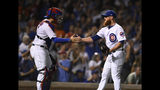 Chicago Cubs closing pitcher Craig Kimbrel right, celebrates with catcher Victor Caratini after the Cubs defeated the San Francisco Giants 12-11 in a baseball game Wednesday, Aug 21, 2019, in Chicago. (AP Photo/Paul Beaty)