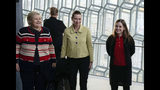 From left, Norway's Prime Minister Erna Solberg, Denmark's Prime Minister Mette Frederiksen and Prime Minister of Iceland Katrin Jakobsdottir arrive at Harpa Concert Hall in Reykjavik, Tuesday Aug. 20, 2019, ahead of the Nordic Prime Ministers meeting. (AP Photo/Egill Bjarnason)