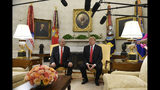 FILE - In this March 25, 2019, file photo, President Donald Trump, right, speaks as Israeli Prime Minister Benjamin Netanyahu, left, listens in the Oval Office of the White House in Washington at the beginning of their meeting. Netanyahu on Wednesday, Aug. 21, 2019, is steering clear of Trump's comments questioning the loyalty of American Jews who support the Democratic Party, ignoring condemnation from Jewish critics who accuse him of voicing longstanding anti-Semitic tropes. (AP Photo/Susan Walsh, File)