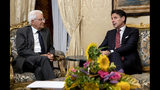 Italian Prime Minister, Giuseppe Conte, right, meets President Sergio Mattarella at the Quirinale presidential palace in Rome, Tuesday, Aug. 20, 2019. Italian Premier Giuseppe Conte has told senators he's handing in his resignation because his right-wing coalition partner has yanked its support for the populist government. Conte blamed his rebellious deputy prime minister Matteo Salvini who triggered a political crisis in a gambit to force early elections that could bring the right-wing, anti-migrant leader to power. (Paolo Giandotti/Italian Presidency via AP)