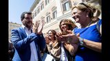 Italian Deputy-Premier and Interior Minister, Matteo Salvini, is cheered by supporters in Rome, Wednesday, Aug. 21, 2019. Italy could see elections as early as this fall after Italian Premier Giuseppe Conte resigned amid the collapse of the 14-month-old populist government. Matteo Salvini's right-wing League party sought a no-confidence vote against Conte earlier this month, a stunningly bold move for the government's junior coalition partner. (Angelo Carconi/ANSA via AP)
