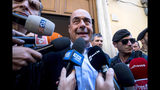 Democratic Party secretary Nicola Zingaretti talks to reporters in Rome, Wednesday, Aug. 21, 2019. Italy could see elections as early as this fall after Italian Premier Giuseppe Conte resigned amid the collapse of the 14-month-old populist government. Matteo Salvini's right-wing League party sought a no-confidence vote against Conte earlier this month, a stunningly bold move for the government's junior coalition partner. (Angelo Carconi/ANSA via AP)