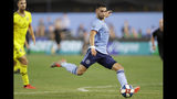New York City FC midfielder Valentin Castellanos sets up to kick a goal during the first half of the team's MLS soccer match against the Columbus Crew, Wednesday, Aug. 21, 2019, in New York. (AP Photo/Kathy Willens)
